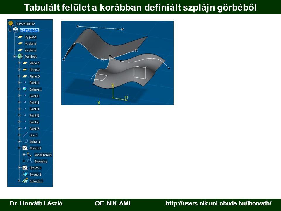 Dr. Horváth László OE-NIK-AMI http://users.nik.uni-obuda.hu/lhorvath/ Tabulált felület a korábban definiált szplájn görbéből
