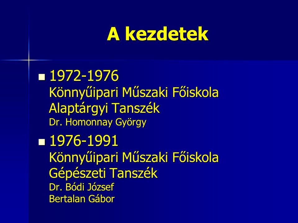 A kezdetek 1972-1976 Könnyűipari Műszaki Főiskola Alaptárgyi Tanszék Dr. Homonnay György 1972-1976 Könnyűipari Műszaki Főiskola Alaptárgyi Tanszék Dr.