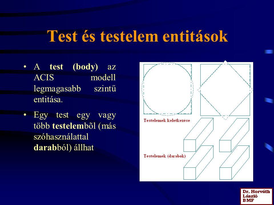 Test és testelem entitások A test (body) az ACIS modell legmagasabb szintű entitása.
