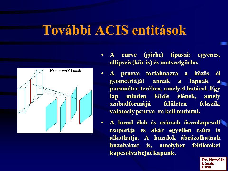 További ACIS entitások A curve (görbe) típusai: egyenes, ellipszis (kör is) és metszetgörbe.