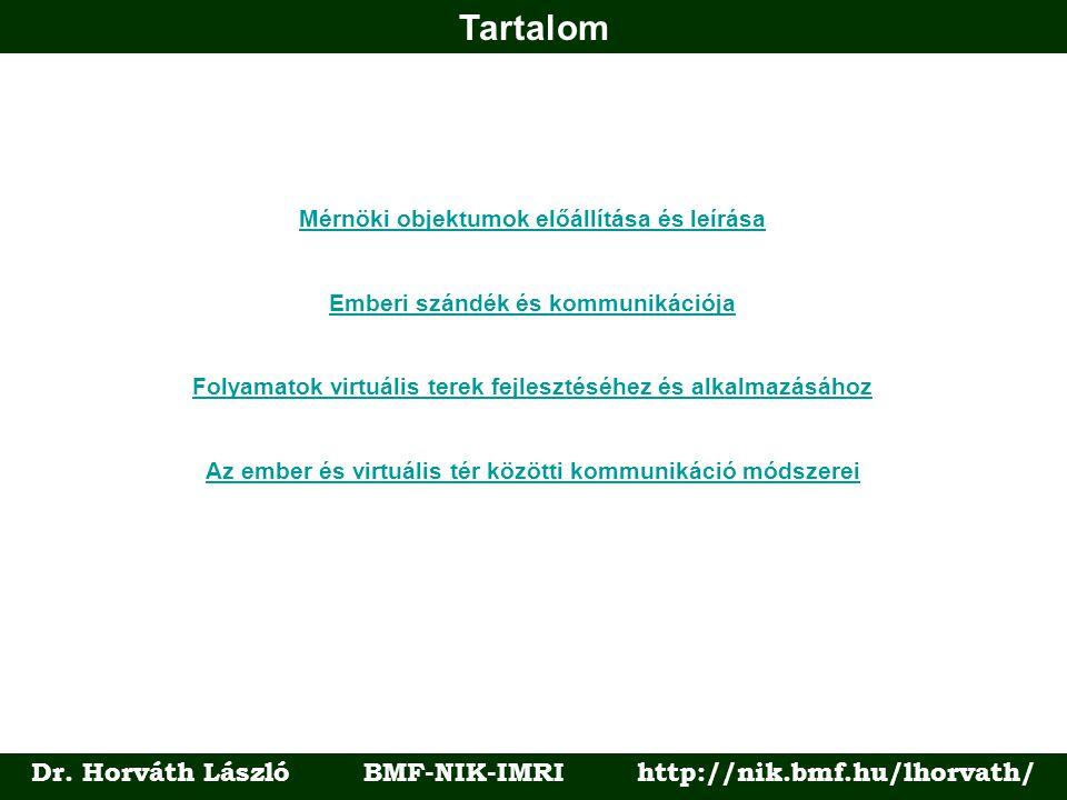 Tartalom Dr. Horváth László BMF-NIK-IMRI http://nik.bmf.hu/lhorvath/ Mérnöki objektumok előállítása és leírása Emberi szándék és kommunikációja Folyam