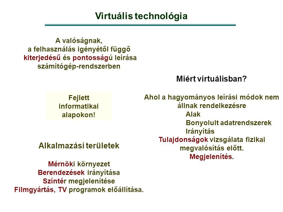 Virtuális technológia A valóságnak, a felhasználás igényétől függő kiterjedésű és pontosságú leírása számítógép-rendszerben Miért virtuálisban? Ahol a