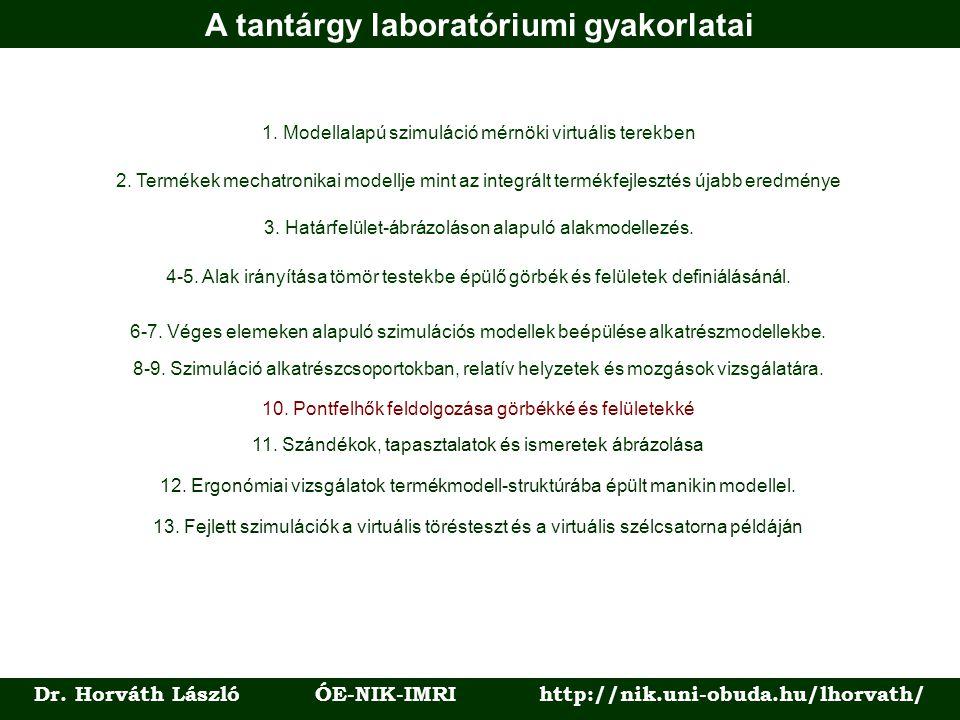 A tantárgy laboratóriumi gyakorlatai Dr. Horváth László ÓE-NIK-IMRI http://nik.uni-obuda.hu/lhorvath/ 1. Modellalapú szimuláció mérnöki virtuális tere