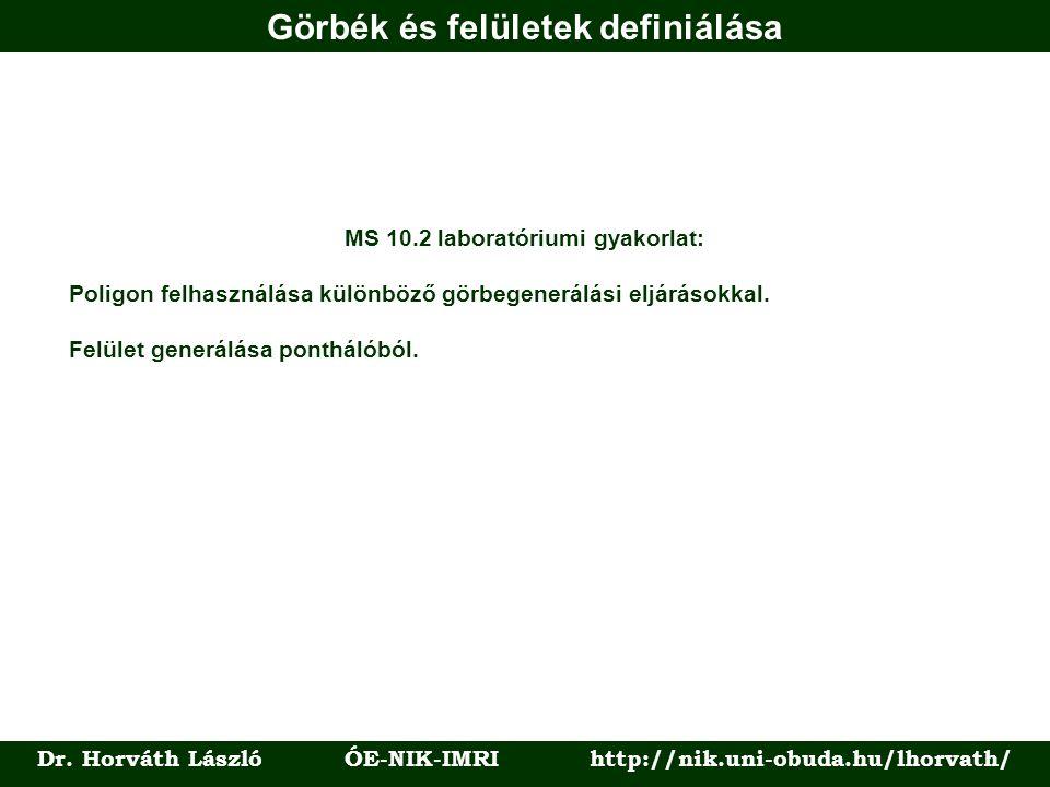Görbék és felületek definiálása Dr. Horváth László ÓE-NIK-IMRI http://nik.uni-obuda.hu/lhorvath/ MS 10.2 laboratóriumi gyakorlat: Poligon felhasználás