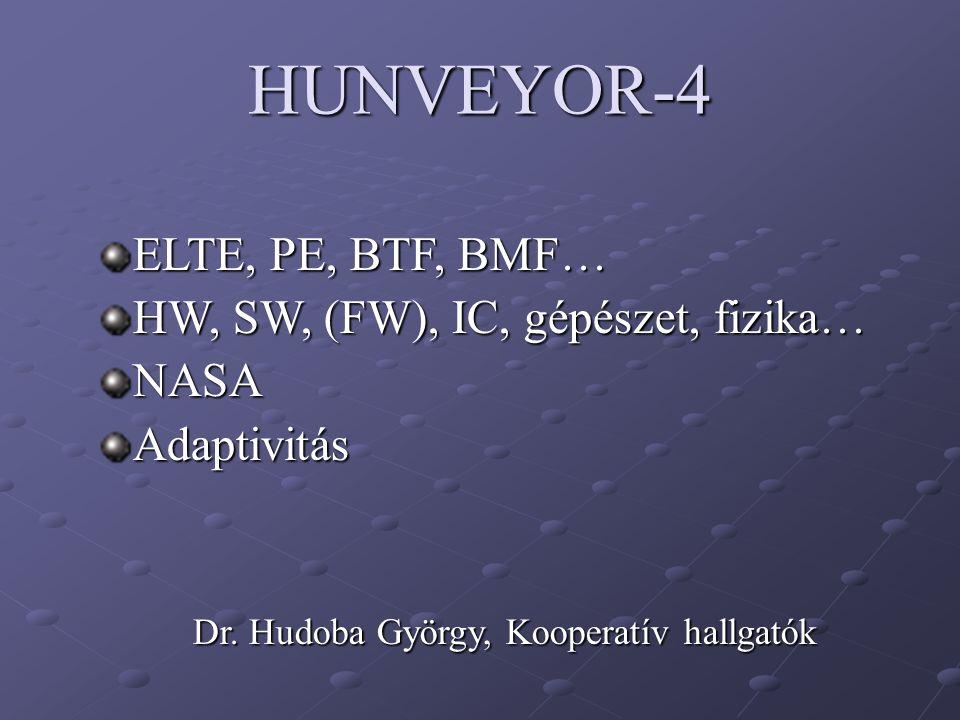 HUNVEYOR-4 ELTE, PE, BTF, BMF… HW, SW, (FW), IC, gépészet, fizika… NASAAdaptivitás Dr. Hudoba György, Kooperatív hallgatók