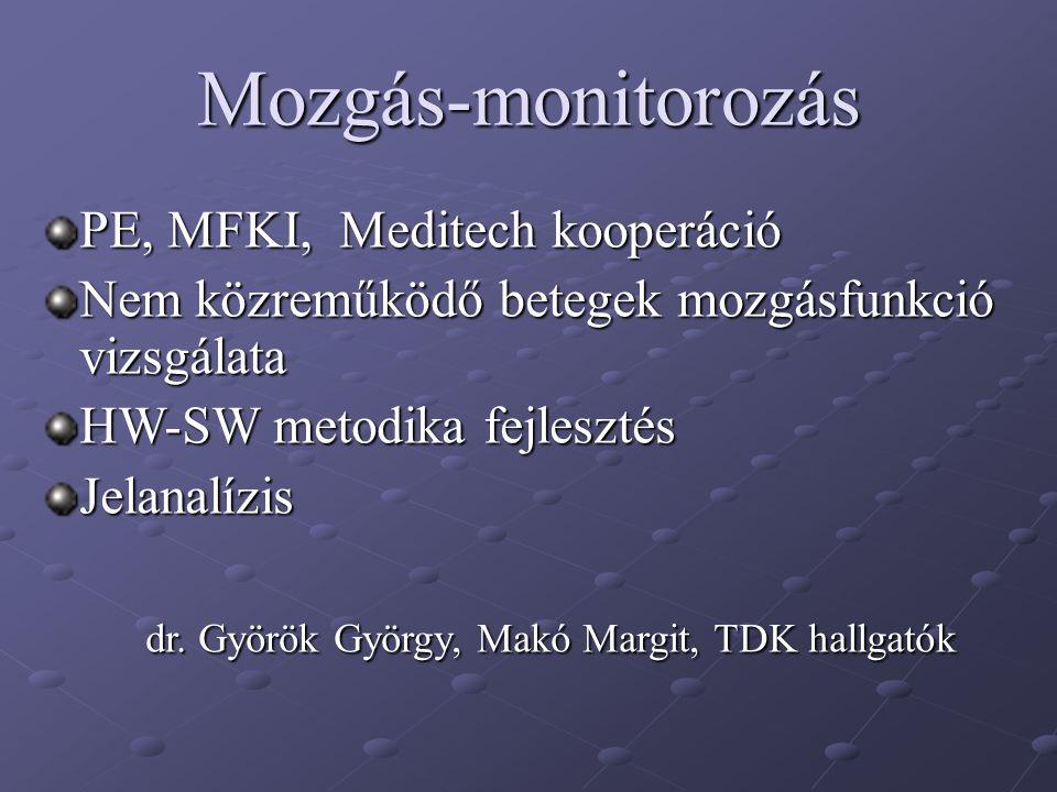 Mozgás-monitorozás PE, MFKI, Meditech kooperáció Nem közreműködő betegek mozgásfunkció vizsgálata HW-SW metodika fejlesztés Jelanalízis dr. Györök Gyö