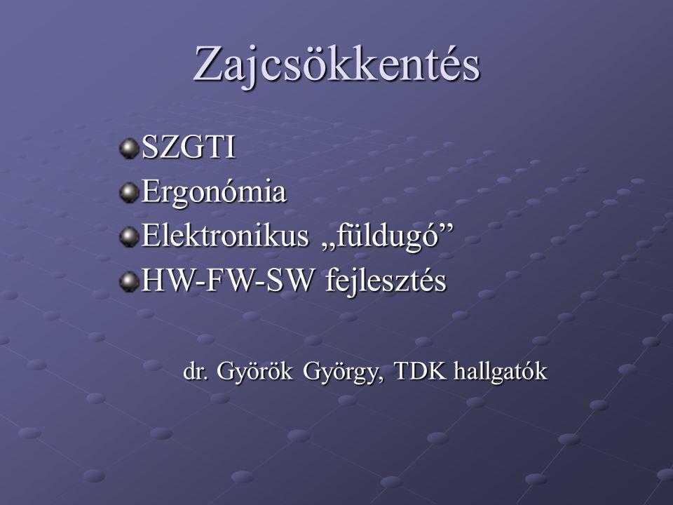 """Zajcsökkentés SZGTIErgonómia Elektronikus """"füldugó"""" HW-FW-SW fejlesztés dr. Györök György, TDK hallgatók"""