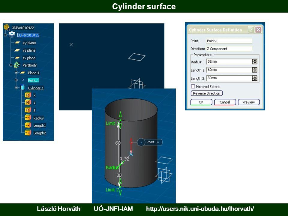 Cylinder surface László Horváth UÓ-JNFI-IAM http://users.nik.uni-obuda.hu/lhorvath/