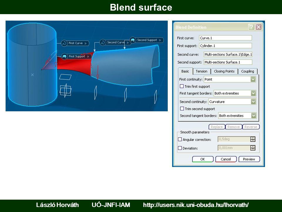 Blend surface László Horváth UÓ-JNFI-IAM http://users.nik.uni-obuda.hu/lhorvath/