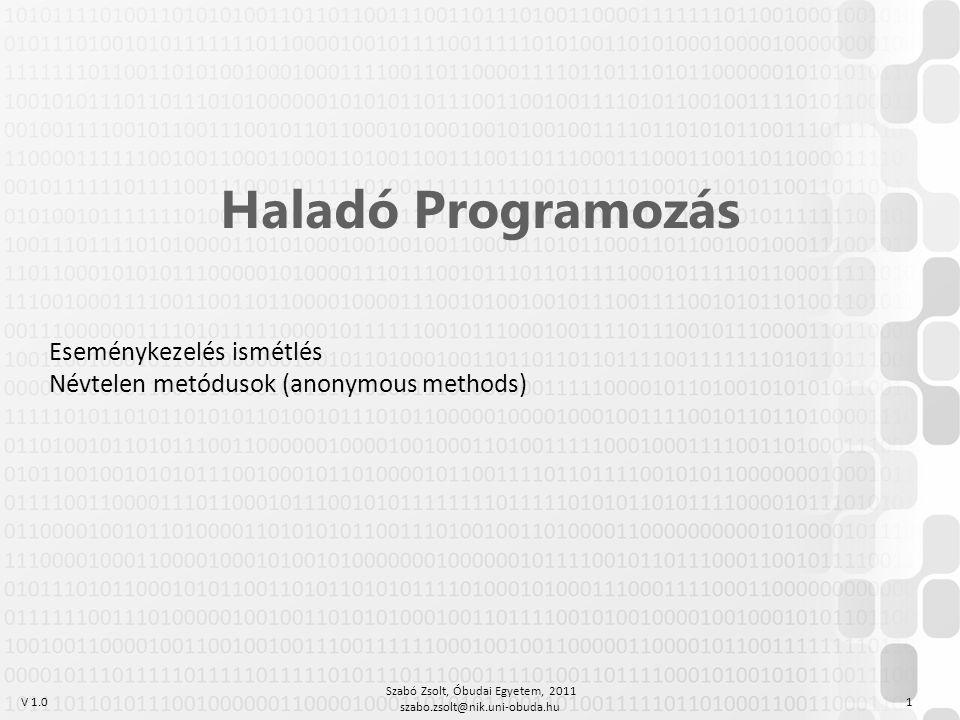 V 1.0 Szabó Zsolt, Óbudai Egyetem, 2011 szabo.zsolt@nik.uni-obuda.hu 1 Haladó Programozás Eseménykezelés ismétlés Névtelen metódusok (anonymous methods)