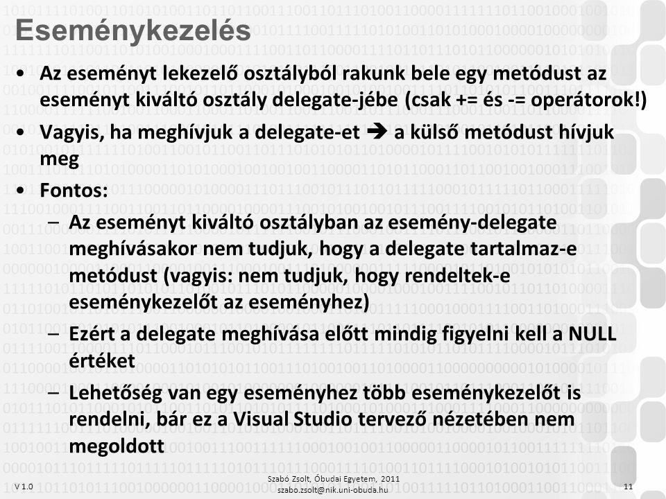 V 1.0 Szabó Zsolt, Óbudai Egyetem, 2011 szabo.zsolt@nik.uni-obuda.hu 11 Az eseményt lekezelő osztályból rakunk bele egy metódust az eseményt kiváltó osztály delegate-jébe (csak += és -= operátorok!) Vagyis, ha meghívjuk a delegate-et  a külső metódust hívjuk meg Fontos: –Az eseményt kiváltó osztályban az esemény-delegate meghívásakor nem tudjuk, hogy a delegate tartalmaz-e metódust (vagyis: nem tudjuk, hogy rendeltek-e eseménykezelőt az eseményhez) –Ezért a delegate meghívása előtt mindig figyelni kell a NULL értéket –Lehetőség van egy eseményhez több eseménykezelőt is rendelni, bár ez a Visual Studio tervező nézetében nem megoldott Eseménykezelés