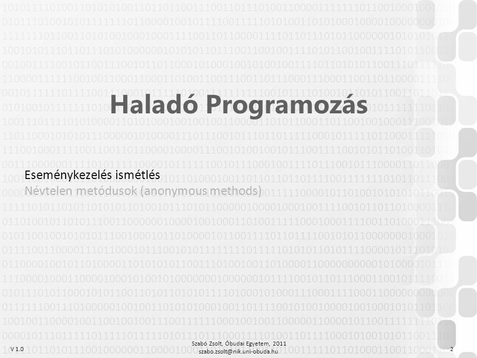 V 1.0 Szabó Zsolt, Óbudai Egyetem, 2011 szabo.zsolt@nik.uni-obuda.hu 3 PPT és VEP tananyag A prezentációban eseményt kiváltó és eseményt feldolgozó osztályról beszélünk, de eseménykezelés lehetséges akár egyetlen osztályon belül is Cél: esemény bekövetkezésének jelzése más modul/osztály részére Módszerek: Függvénymutató átadása (DOS), Delegate-ek használata (C#), Interfészek használata (JAVA) Ezen az órán csak a C# megvalósítással foglalkozunk Eseménykezelés