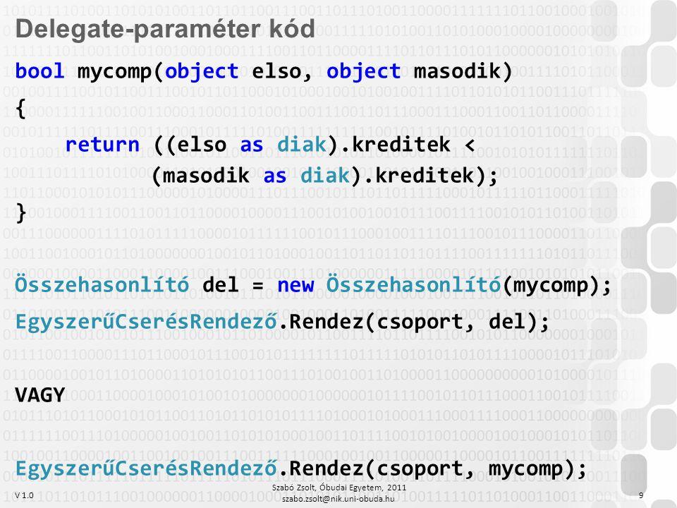V 1.0 Szabó Zsolt, Óbudai Egyetem, 2011 szabo.zsolt@nik.uni-obuda.hu 9 Delegate-paraméter kód bool mycomp(object elso, object masodik) { return ((elso as diak).kreditek < (masodik as diak).kreditek); } Összehasonlító del = new Összehasonlító(mycomp); EgyszerűCserésRendező.Rendez(csoport, del); VAGY EgyszerűCserésRendező.Rendez(csoport, mycomp);