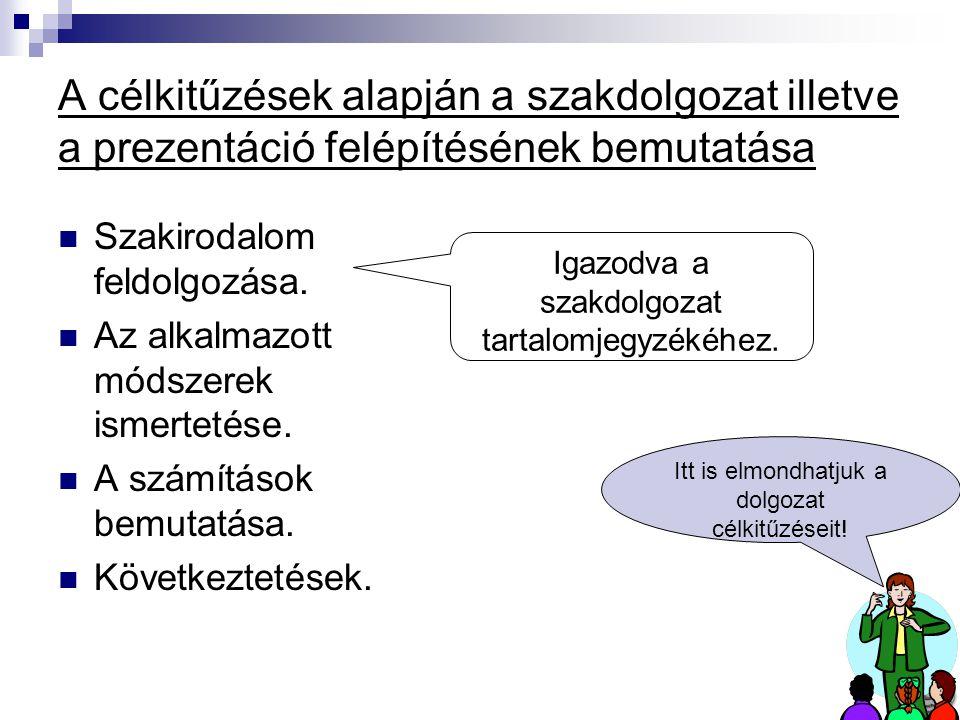 A célkitűzések alapján a szakdolgozat illetve a prezentáció felépítésének bemutatása Szakirodalom feldolgozása.