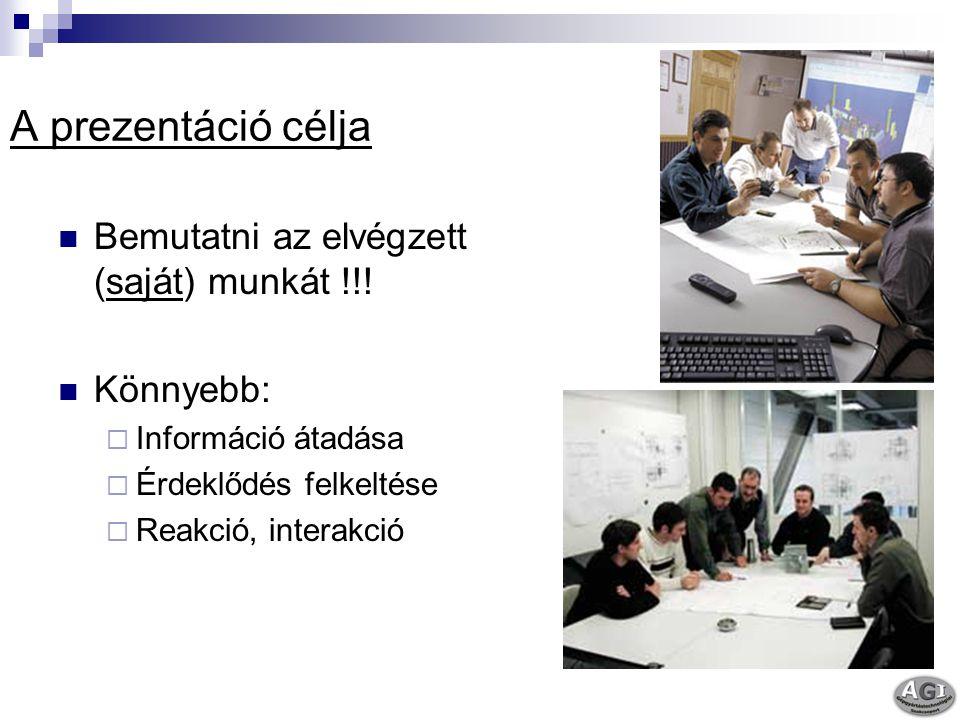 A prezentáció célja Bemutatni az elvégzett (saját) munkát !!! Könnyebb:  Információ átadása  Érdeklődés felkeltése  Reakció, interakció