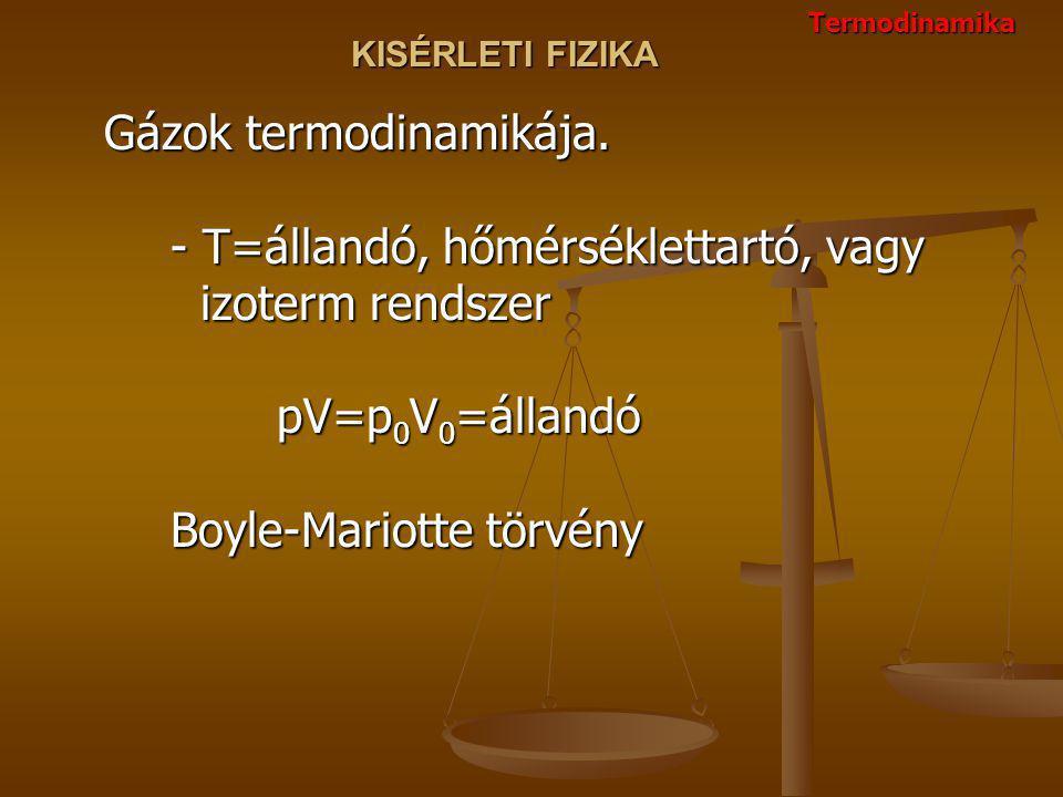 KISÉRLETI FIZIKA Gázok termodinamikája. - T=állandó, hőmérséklettartó, vagy izoterm rendszer pV=p 0 V 0 =állandó Boyle-Mariotte törvény Termodinamika