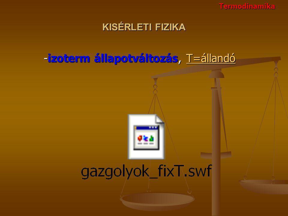 KISÉRLETI FIZIKA -izoterm állapotváltozás, T=állandó -izoterm állapotváltozás, T=állandóT=állandó Termodinamika
