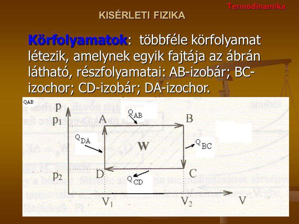 Termodinamika Körfolyamatok: többféle körfolyamat létezik, amelynek egyik fajtája az ábrán látható, részfolyamatai: AB-izobár; BC- izochor; CD-izobár; DA-izochor.