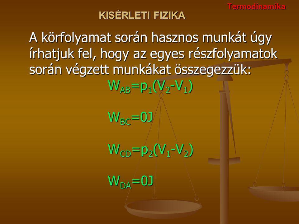 KISÉRLETI FIZIKA A körfolyamat során hasznos munkát úgy írhatjuk fel, hogy az egyes részfolyamatok során végzett munkákat összegezzük: W AB =p 1 (V 2 -V 1 ) W BC =0J W CD =p 2 (V 1 -V 2 ) W DA =0J Termodinamika
