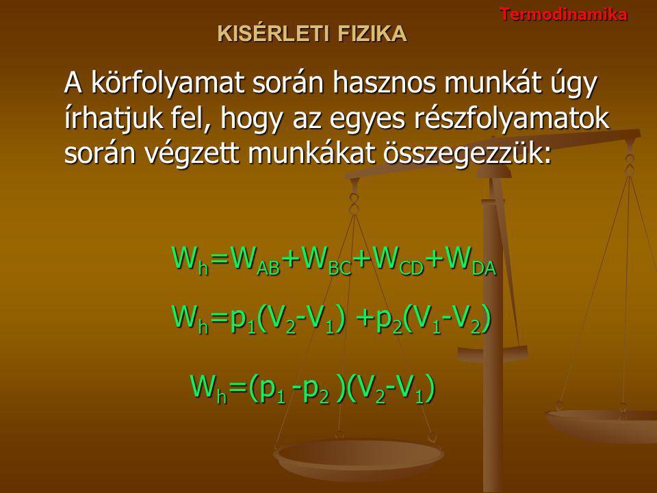 KISÉRLETI FIZIKA A körfolyamat során hasznos munkát úgy írhatjuk fel, hogy az egyes részfolyamatok során végzett munkákat összegezzük: W h =W AB +W BC +W CD +W DA W h =p 1 (V 2 -V 1 ) +p 2 (V 1 -V 2 ) W h =(p 1 -p 2 )(V 2 -V 1 ) Termodinamika