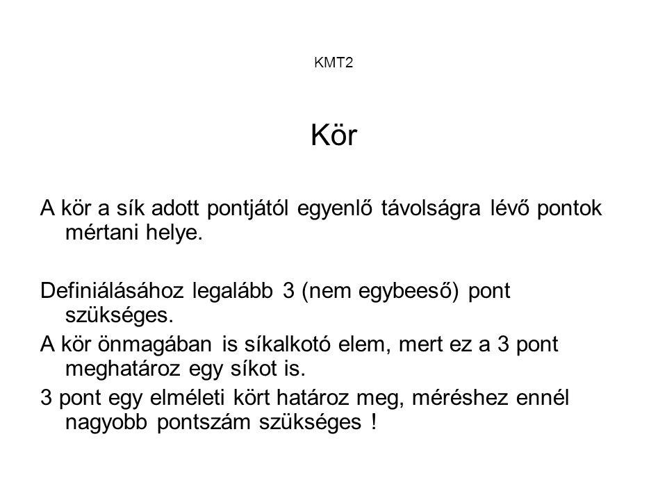 KMT2 Kör A kör a sík adott pontjától egyenlő távolságra lévő pontok mértani helye. Definiálásához legalább 3 (nem egybeeső) pont szükséges. A kör önma