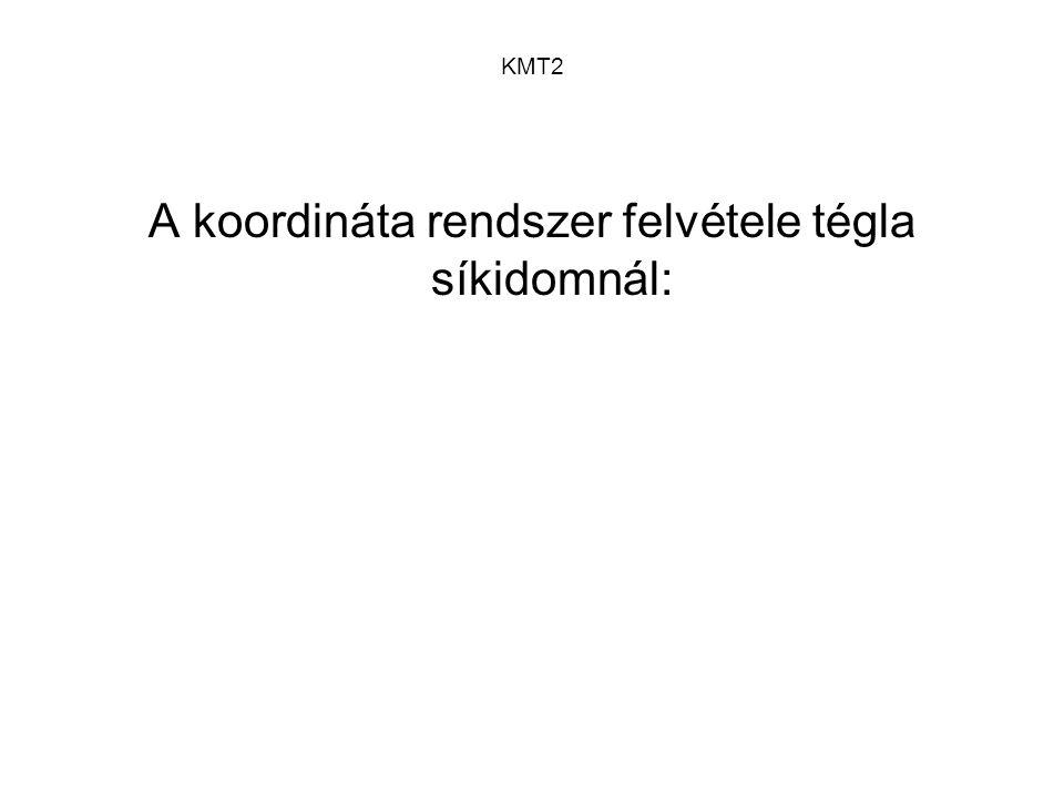 KMT2 A koordináta rendszer felvétele tégla síkidomnál: