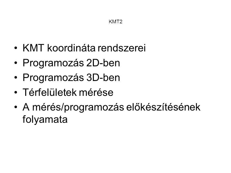 KMT2 A koordinátarendszerek típusai: –Descartes-féle koord.