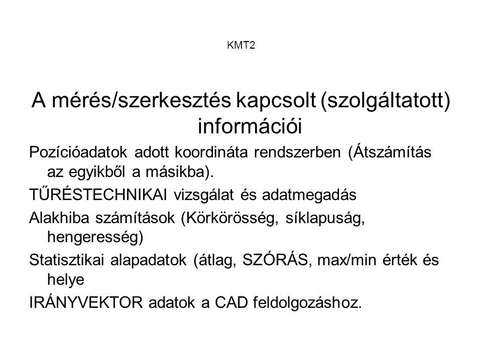 KMT2 A mérés/szerkesztés kapcsolt (szolgáltatott) információi Pozícióadatok adott koordináta rendszerben (Átszámítás az egyikből a másikba). TŰRÉSTECH