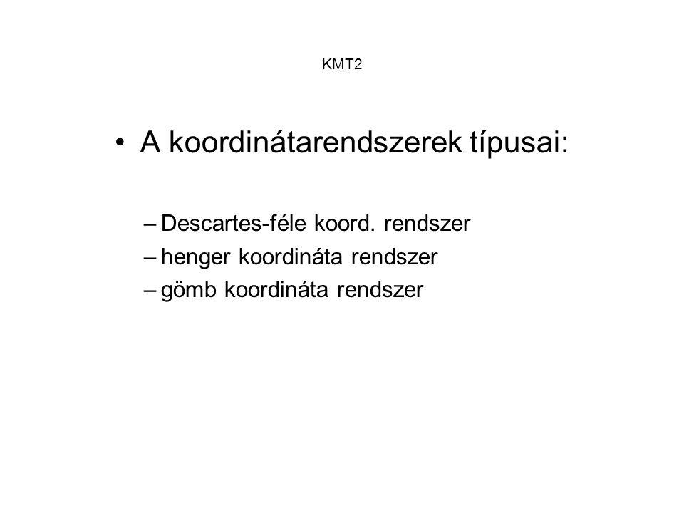 KMT2 A KMG koordináta rendszerei: –gépi koordináta rendszer »a gép saját, a mérőrendszere által biztosított koordináta rendszere –munkadarab koordináta rendszer »a mérőszemély által, a munkadarabról felvett koordináta rendszere –paletta koordináta rendszer »a mdb.