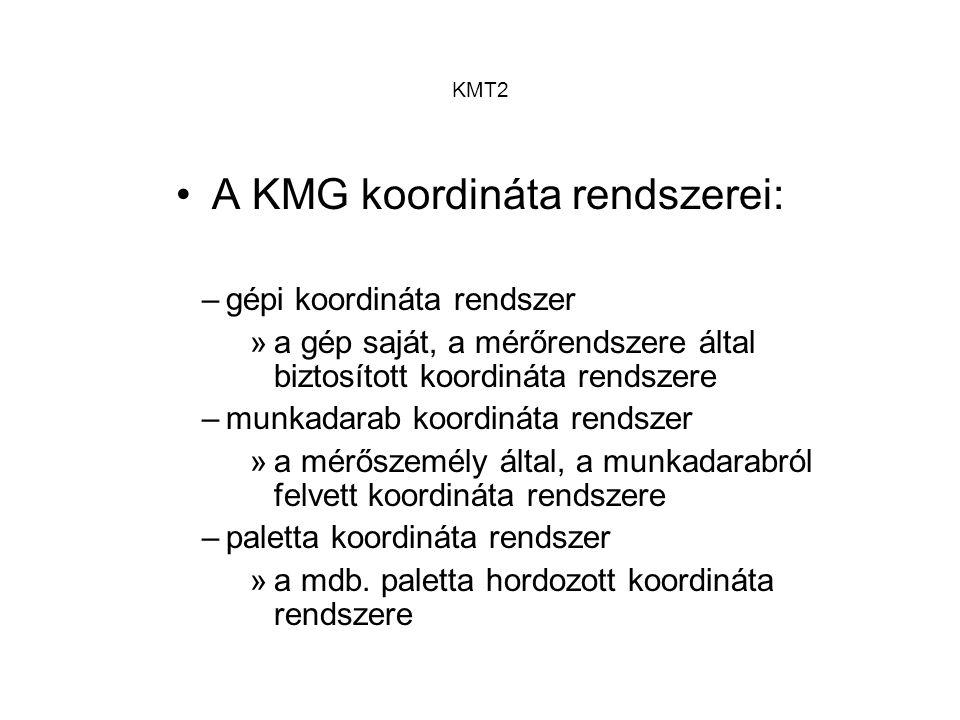 KMT2 A KMG koordináta rendszerei: –gépi koordináta rendszer »a gép saját, a mérőrendszere által biztosított koordináta rendszere –munkadarab koordinát
