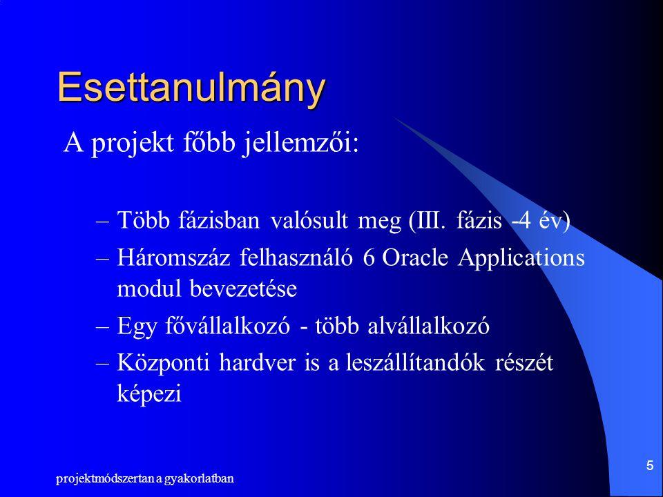 projektmódszertan a gyakorlatban 5 Esettanulmány A projekt főbb jellemzői: –Több fázisban valósult meg (III. fázis -4 év) –Háromszáz felhasználó 6 Ora