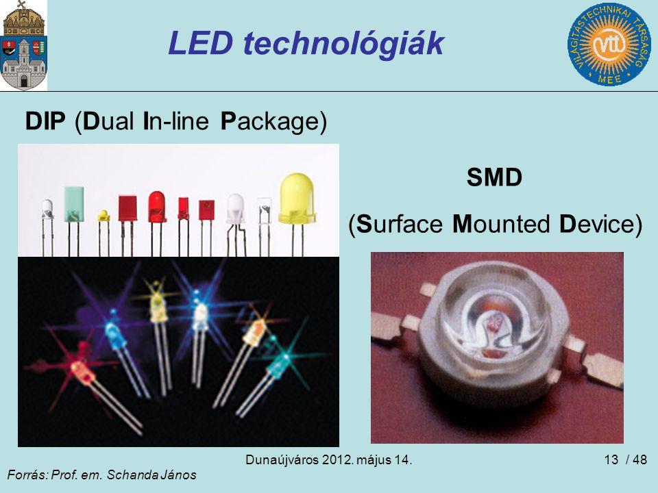 Dunaújváros 2012. május 14.13 LED technológiák DIP (Dual In-line Package) SMD (Surface Mounted Device) Forrás: Prof. em. Schanda János / 48