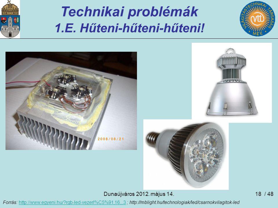 Dunaújváros 2012. május 14.18 Technikai problémák 1.E. Hűteni-hűteni-hűteni! Forrás: http://www.egyeni.hu/?rgb-led-vezerl%C5%91,16,,,3 ; http://mbligh