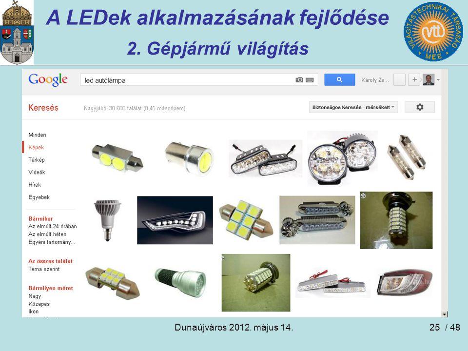 Dunaújváros 2012. május 14.25 A LEDek alkalmazásának fejlődése 2. Gépjármű világítás / 48