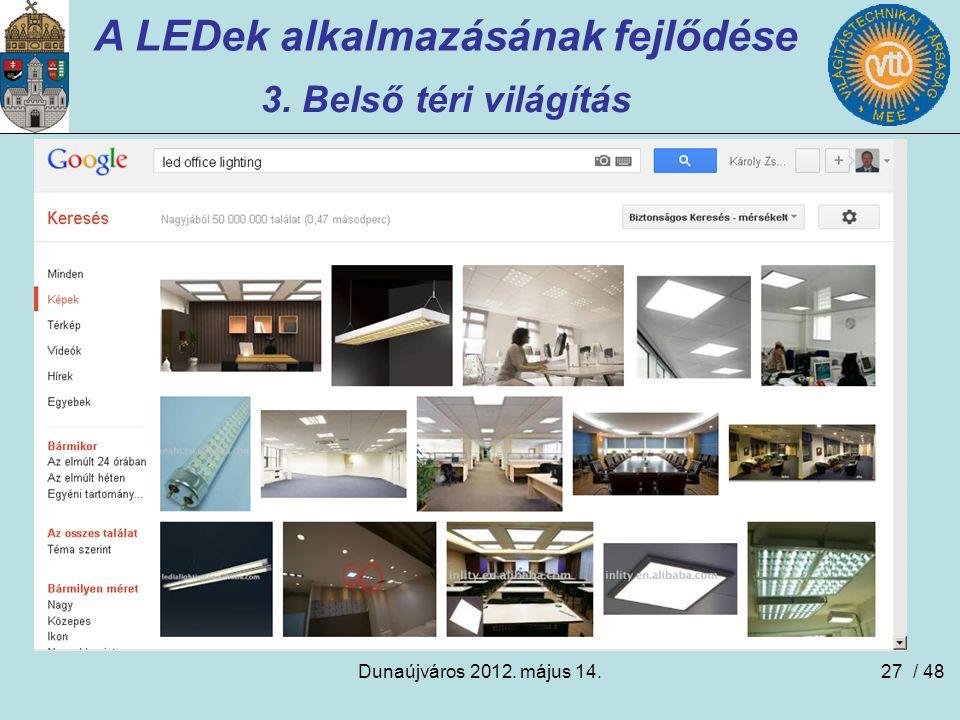 Dunaújváros 2012. május 14.27 A LEDek alkalmazásának fejlődése 3. Belső téri világítás / 48