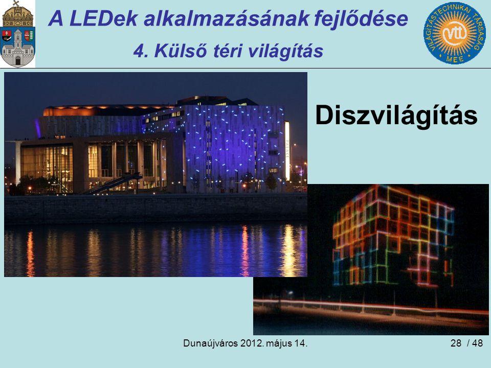 Dunaújváros 2012. május 14.28 A LEDek alkalmazásának fejlődése 4. Külső téri világítás Diszvilágítás / 48