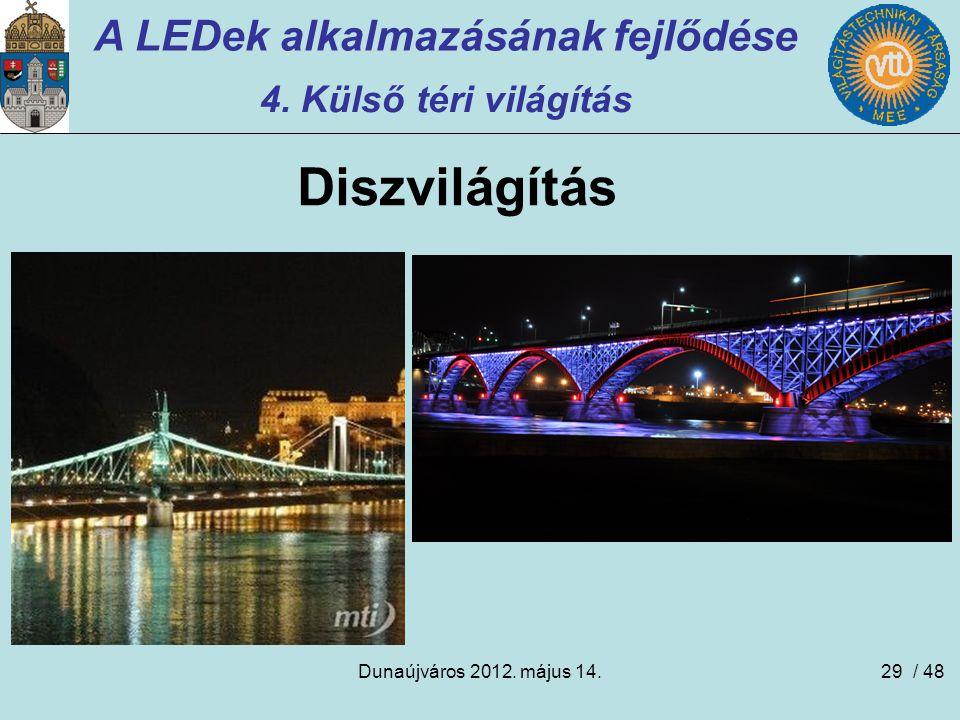 Dunaújváros 2012. május 14.29 A LEDek alkalmazásának fejlődése 4. Külső téri világítás Diszvilágítás / 48