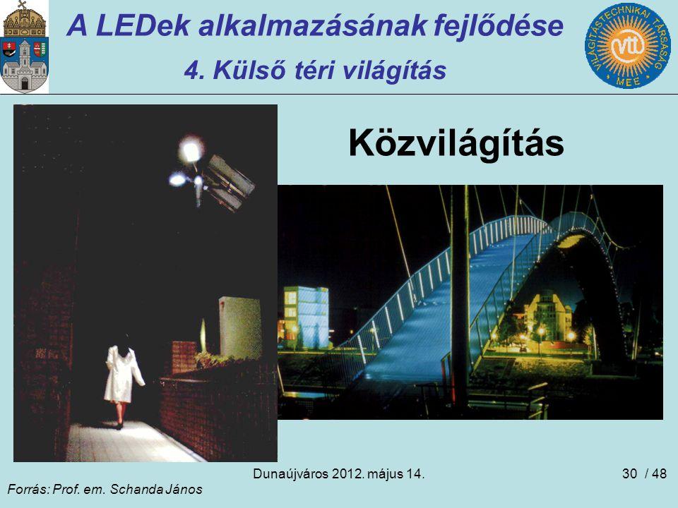 Dunaújváros 2012. május 14.30 A LEDek alkalmazásának fejlődése 4. Külső téri világítás Közvilágítás Forrás: Prof. em. Schanda János / 48