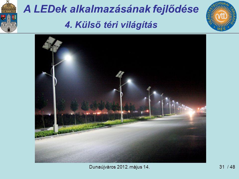 Dunaújváros 2012. május 14.31 A LEDek alkalmazásának fejlődése 4. Külső téri világítás / 48
