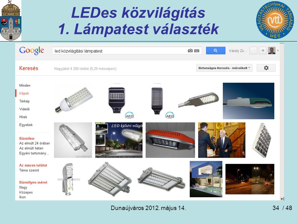 Dunaújváros 2012. május 14.34 LEDes közvilágítás 1. Lámpatest választék / 48