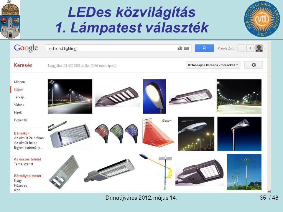 Dunaújváros 2012. május 14.35 LEDes közvilágítás 1. Lámpatest választék / 48