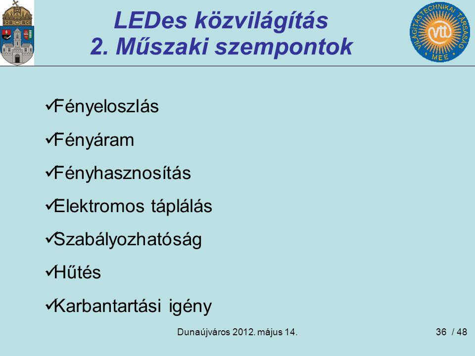 Dunaújváros 2012. május 14.36 LEDes közvilágítás 2. Műszaki szempontok Fényeloszlás Fényáram Fényhasznosítás Elektromos táplálás Szabályozhatóság Hűté