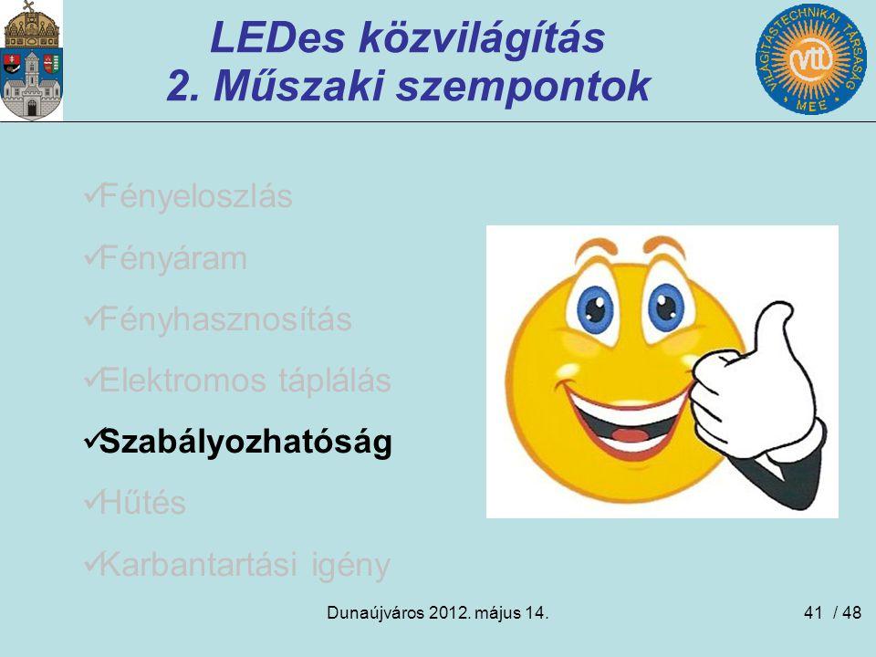 Dunaújváros 2012. május 14.41 LEDes közvilágítás 2. Műszaki szempontok Fényeloszlás Fényáram Fényhasznosítás Elektromos táplálás Szabályozhatóság Hűté