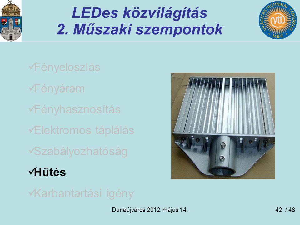 Dunaújváros 2012. május 14.42 LEDes közvilágítás 2. Műszaki szempontok Fényeloszlás Fényáram Fényhasznosítás Elektromos táplálás Szabályozhatóság Hűté