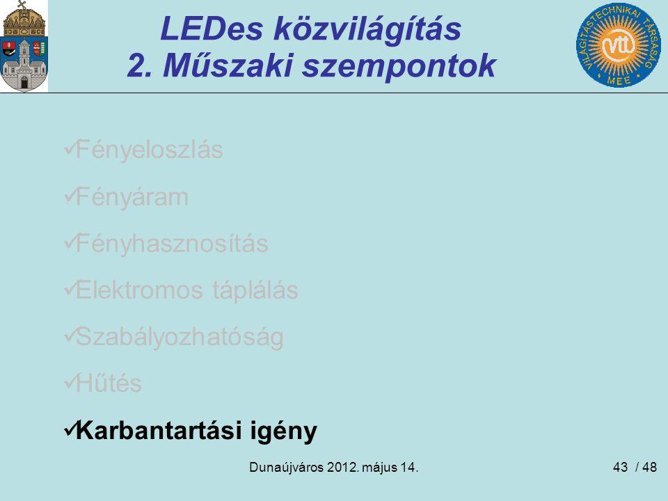 Dunaújváros 2012. május 14.43 LEDes közvilágítás 2. Műszaki szempontok Fényeloszlás Fényáram Fényhasznosítás Elektromos táplálás Szabályozhatóság Hűté