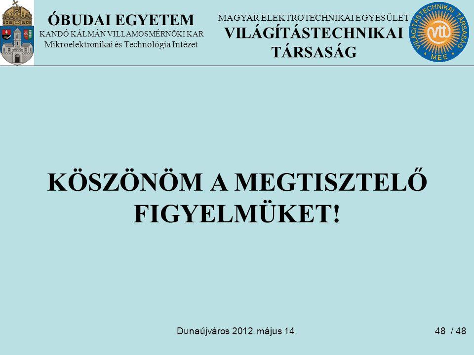 Dunaújváros 2012. május 14.48 ÓBUDAI EGYETEM KANDÓ KÁLMÁN VILLAMOSMÉRNÖKI KAR Mikroelektronikai és Technológia Intézet KÖSZÖNÖM A MEGTISZTELŐ FIGYELMÜ