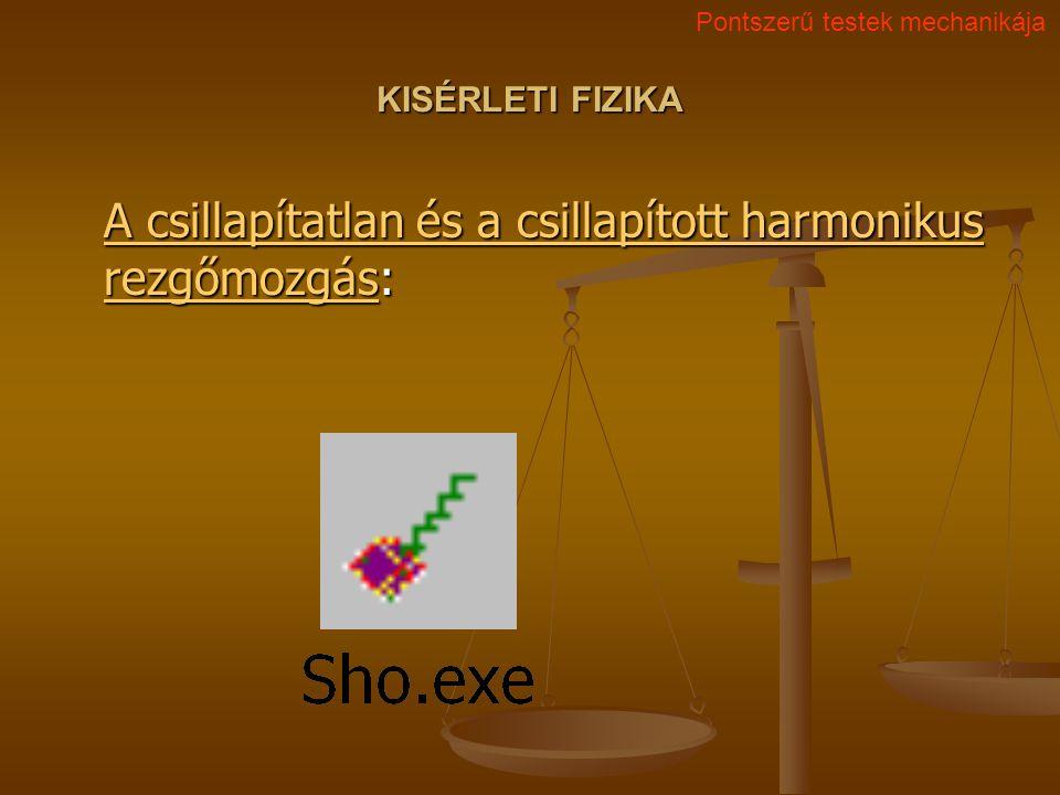 KISÉRLETI FIZIKA A csillapítatlan és a csillapított harmonikus rezgőmozgásA csillapítatlan és a csillapított harmonikus rezgőmozgás: A csillapítatlan