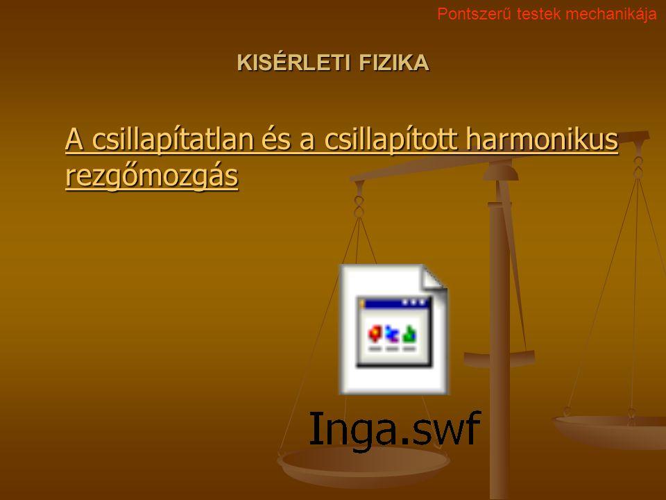 KISÉRLETI FIZIKA A csillapítatlan és a csillapított harmonikus rezgőmozgás A csillapítatlan és a csillapított harmonikus rezgőmozgás Pontszerű testek
