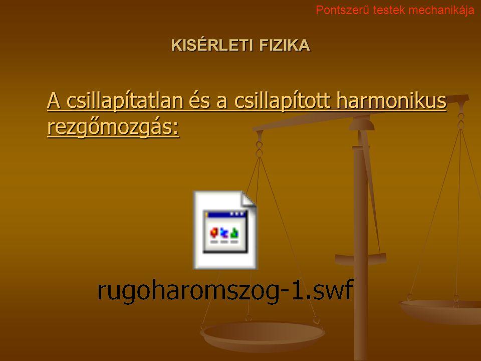 KISÉRLETI FIZIKA A csillapítatlan és a csillapított harmonikus rezgőmozgás: A csillapítatlan és a csillapított harmonikus rezgőmozgás: Pontszerű teste