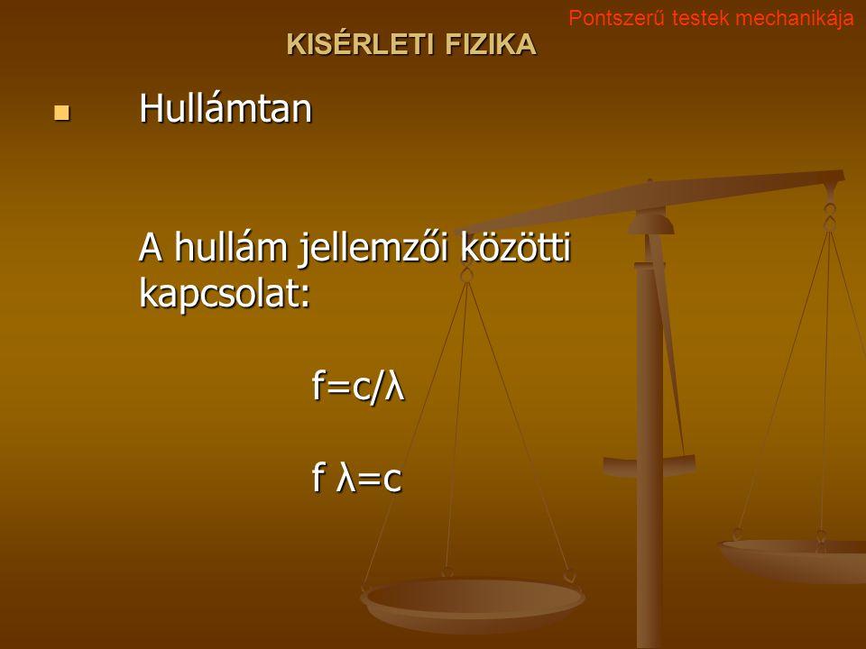 KISÉRLETI FIZIKA Hullámtan A hullám jellemzői közötti kapcsolat: f=c/λ f λ=c Hullámtan A hullám jellemzői közötti kapcsolat: f=c/λ f λ=c Pontszerű tes